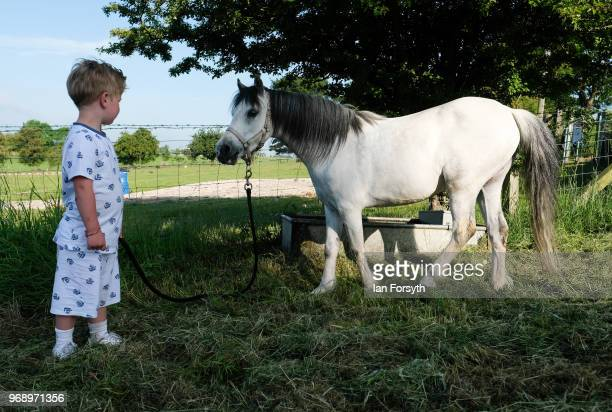 Jonny Docherty Reilly from London waits as his horse drinks from a trough on the first day of the Appleby Horse Fair on June 7 2018 in Appleby...