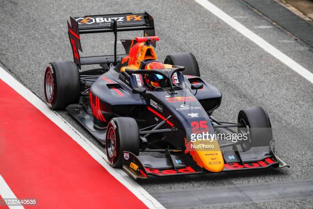Jonny Edgar from Great Britain of Carlin Buzz Racing, action during Day One of Formula 3 Testing at Circuit de Barcelona - Catalunya on April 21,...