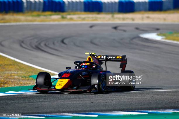 Jonny Edgar of Great Britain and Carlin Buzz Racing drives during day two of Formula 3 Testing at Circuito de Jerez on May 13, 2021 in Jerez de la...
