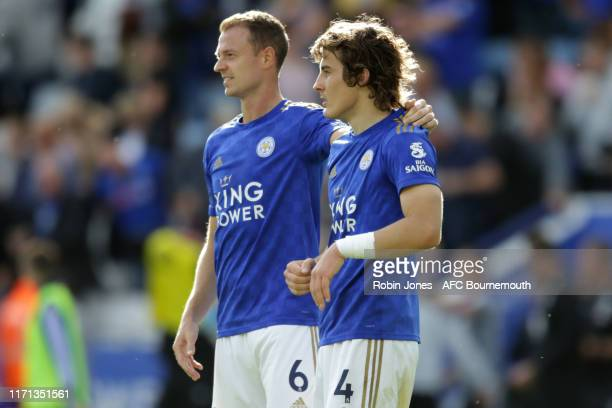 Jonny Evans and Caglar Soyuncu of Leicester City after their sides 31 win during the Premier League match between Leicester City and AFC Bournemouth...