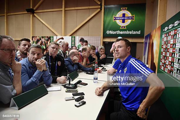 Jonny Evans at this mornings Northern Ireland players press conference at their training camp on June 14 2016 in Lyon France