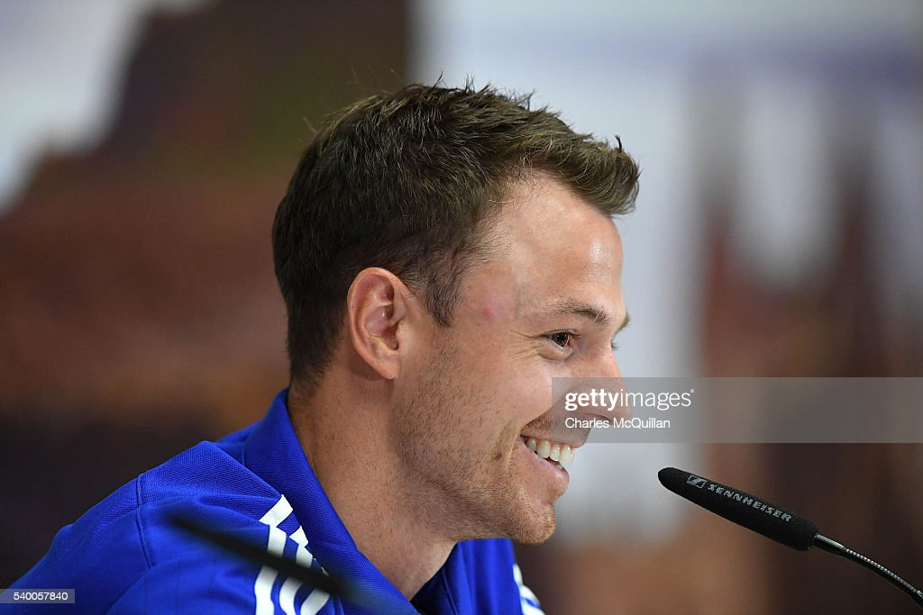 Jonny Evans at this mornings Northern Ireland players press conference at their training camp on June 14, 2016 in Lyon, France.