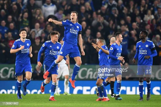 Jonny Evans of Leicester City celebrates after scoring his team's first goal during the Premier League match between Leicester City and Crystal...