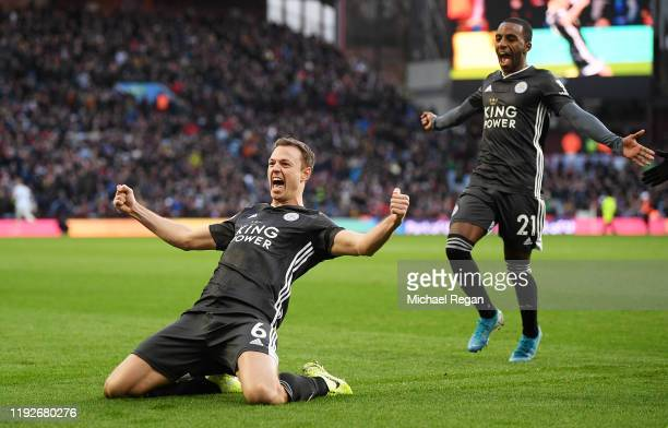 Jonny Evans of Leicester City celebrates after scoring his team's third goal during the Premier League match between Aston Villa and Leicester City...