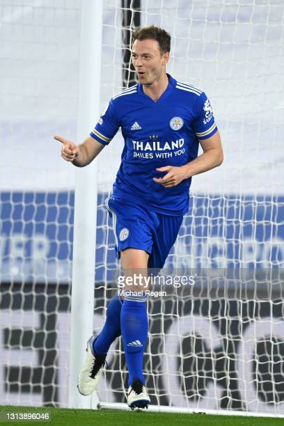 Jonny Evans of Leicester City celebrates after scoring their sides second goal during the Premier League match between Leicester City and West...