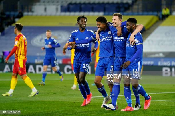 Jonny Evans of Leicester City celebrates after scoring their sides second goal with team mates Wilfred Ndidi, Wesley Fofana and Kelechi Iheanacho...