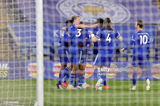 Jonny Evans of Leicester City celebrates after scoring to make it 2-0 during the Premier League match between Leicester City and West Bromwich Albion...