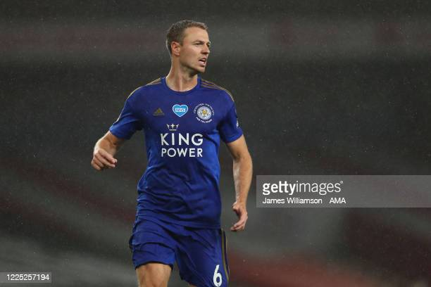 Jonny Evans of Leicester City during the Premier League match between Arsenal FC and Leicester City at Emirates Stadium on July 7 2020 in London...
