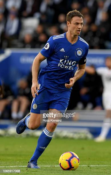 Jonny Evans of Leicester City in action during the Premier League match between Leicester City and Burnley FC at The King Power Stadium on November...