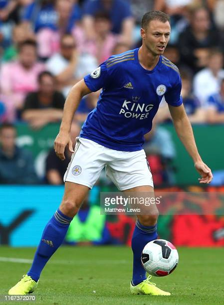 Jonny Evans of Leicester City in action during the Premier League match between Leicester City and Wolverhampton Wanderers at The King Power Stadium...