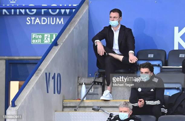 Jonny Evans of Leicester City is seen sitting in the stands with crutches after picking up a injury in the warm up during the Premier League match...