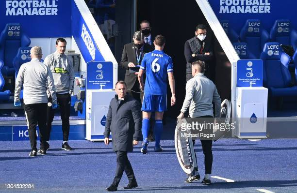 Jonny Evans of Leicester City leaves the pitch during the Premier League match between Leicester City and Arsenal at The King Power Stadium on...