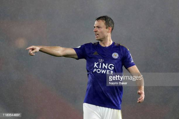 Jonny Evans of Leicester City looks on during the Premier League match between Southampton FC and Leicester City at St Mary's Stadium on October 25,...