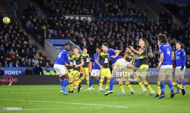Jonny Evans of Leicester City scores his team's second goal which is disallowed following a VAR review during the Premier League match between...