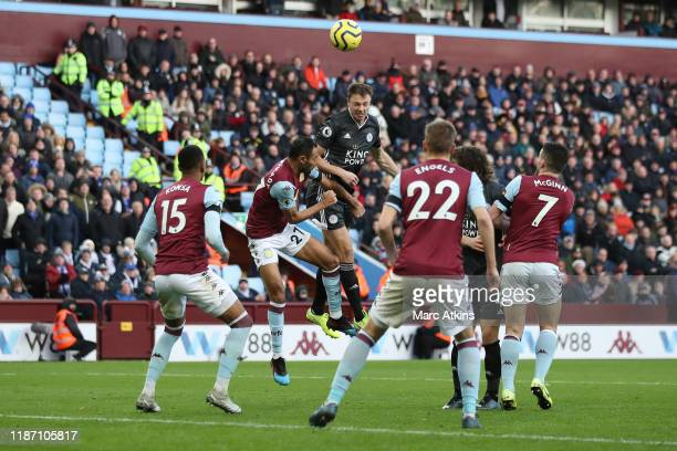 Jonny Evans of Leicester City scores their 3rd goal during the Premier League match between Aston Villa and Leicester City at Villa Park on December...