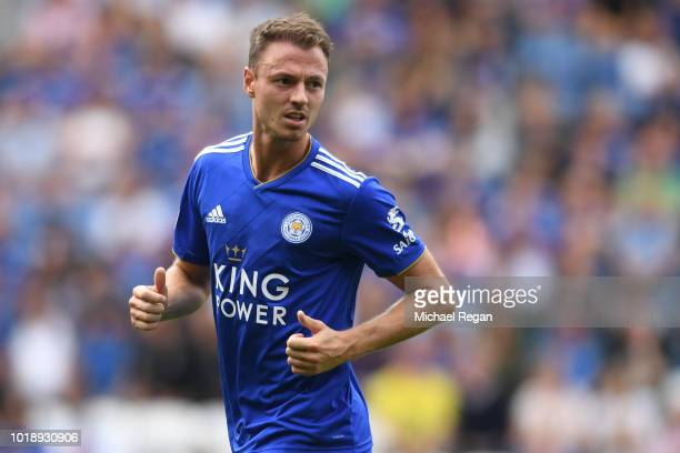 Jonny Evans of Leicester in action during the Premier League match between Leicester City and Wolverhampton Wanderers at The King Power Stadium on...