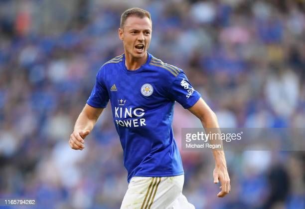 Jonny Evans of Leicester in action during the Pre-Season Friendly match between Leicester City and Atalanta at The King Power Stadium on August 02,...