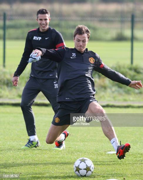 Jonny Evans of Manchester United in action during a first team training session ahead of their UEFA Champions League match against Cluj at Carrington...