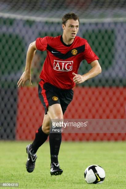 Jonny Evans of Manchester United in action during a preseason friendly match between Hangzhou Greentown and Manchester United as part of the club's...