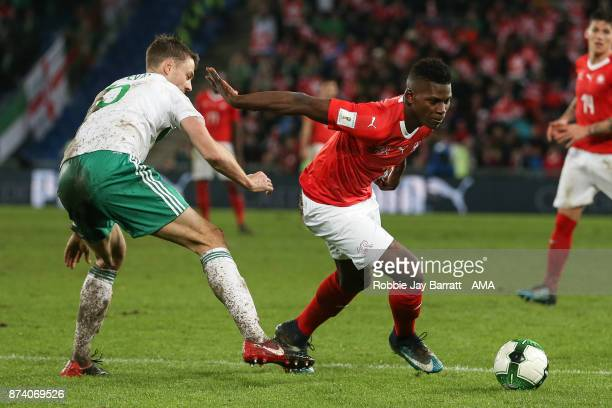 Jonny Evans of Northern Ireland and Breel Embolo of Switzerland during the FIFA 2018 World Cup Qualifier PlayOff Second Leg between Switzerland and...
