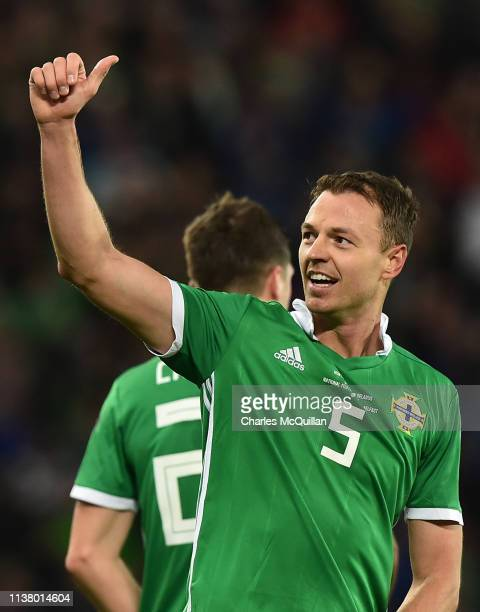 Jonny Evans of Northern Ireland celebrates after scoring his team's first goal during the 2020 UEFA European Championships Group C qualifying match...