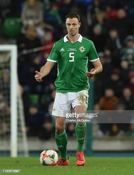 Jonny Evans of Northern Ireland during the 2020 UEFA European Championships group C qualifying match between Northern Ireland and Belarus at Windsor...