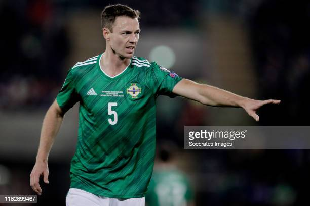 Jonny Evans of Northern Ireland during the EURO Qualifier match between Northern Ireland v Holland at the Windsor Park on November 16, 2019 in...