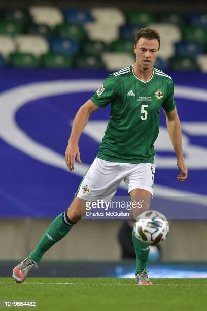 Jonny Evans of Northern Ireland in action during the UEFA Nations League group stage match between Northern Ireland and Austria at Windsor Park on...