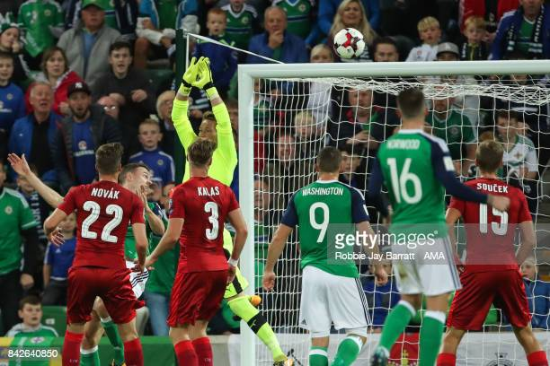 Jonny Evans of Northern Ireland scores a goal to make it 10 during the FIFA 2018 World Cup Qualifier between Northern Ireland and Czech Republic at...