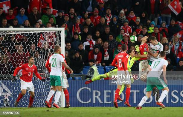 Jonny Evans of Northern Ireland sees his last minute header cleared off on the line by Ricardo Rodriguez of Switzerland during the FIFA 2018 World...