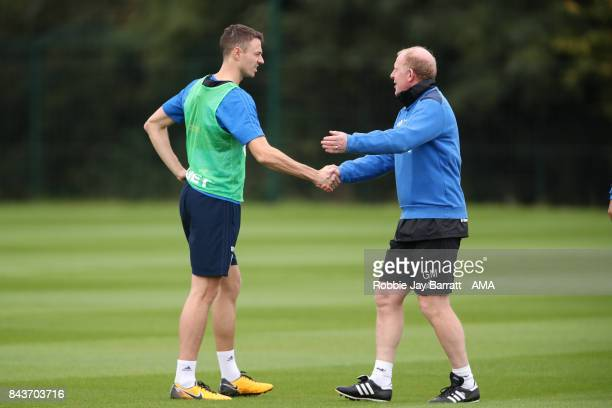 Jonny Evans of West Bromwich Albion and Gary Megson assistant head coach / manager of West Bromwich Albion on September 7 2017 in West Bromwich...