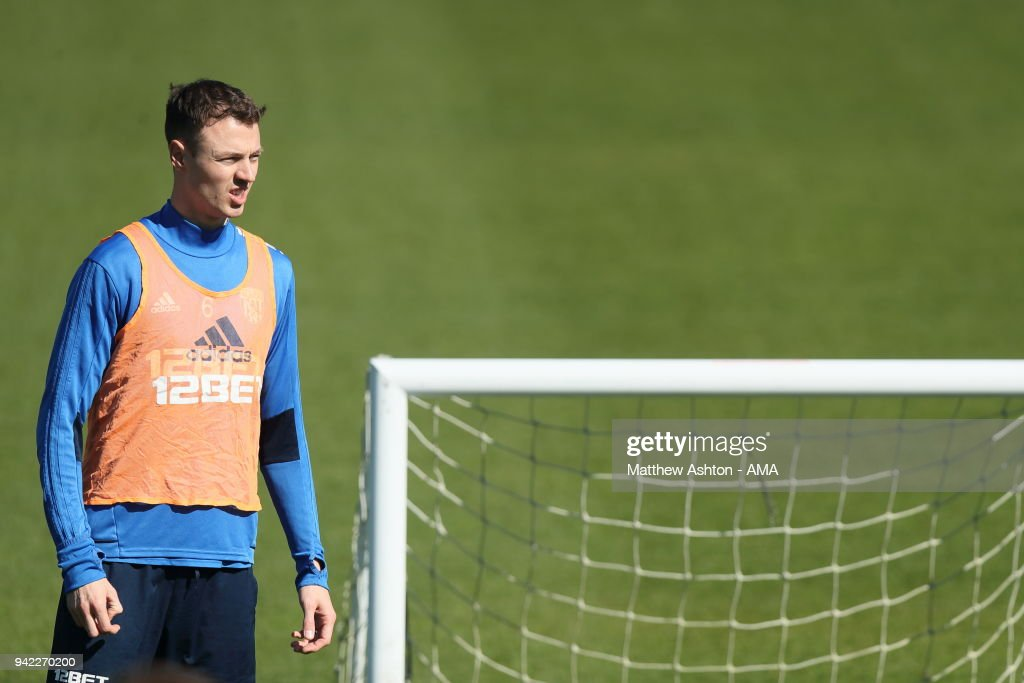 Jonny Evans of West Bromwich Albion during a West Bromwich Albion training session on April 5, 2018 in West Bromwich, England.