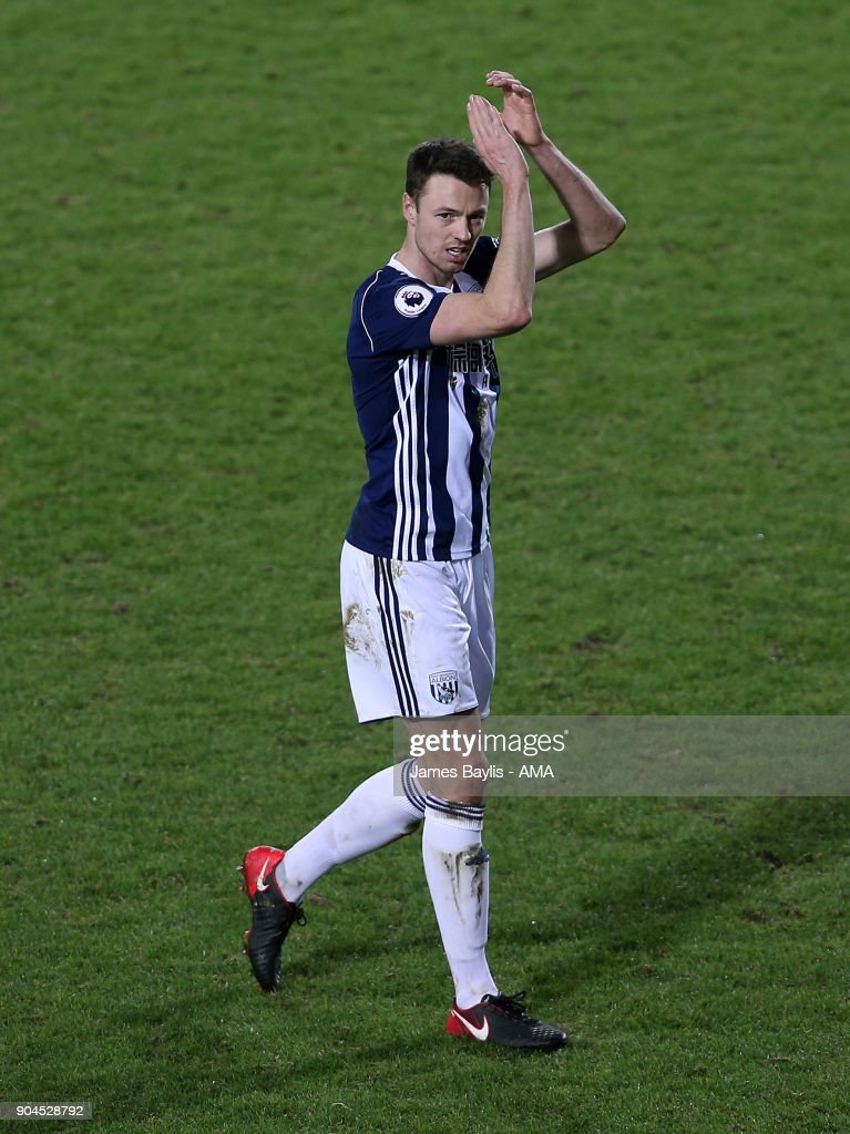 Jonny Evans of West Bromwich Albion during the Premier League match between West Bromwich Albion and Brighton and Hove Albion at The Hawthorns on January 13, 2018 in West Bromwich, England.