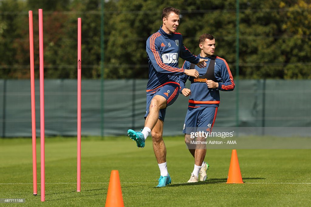 Jonny Evans of West Bromwich Albion during the West Bromwich Albion training session at West Bromwich Albion Training Ground on September 10, 2015 in Walsall, England.