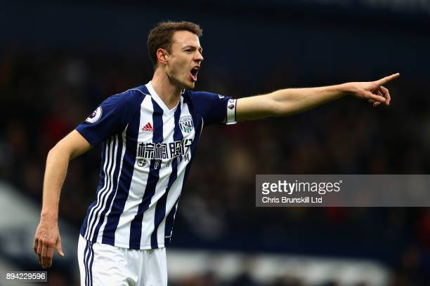 Jonny Evans of West Bromwich Albion gestures during the Premier League match between West Bromwich Albion and Manchester United at The Hawthorns on...