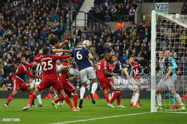 Jonny Evans of West Bromwich Albion scores a goal to make the score 20 during the Premier League match between West Bromwich Albion and Watford at...