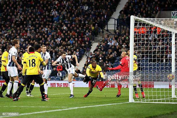 Jonny Evans of West Bromwich Albion scores the first goal during the Premier League match between West Bromwich Albion and Watford at The Hawthorns...