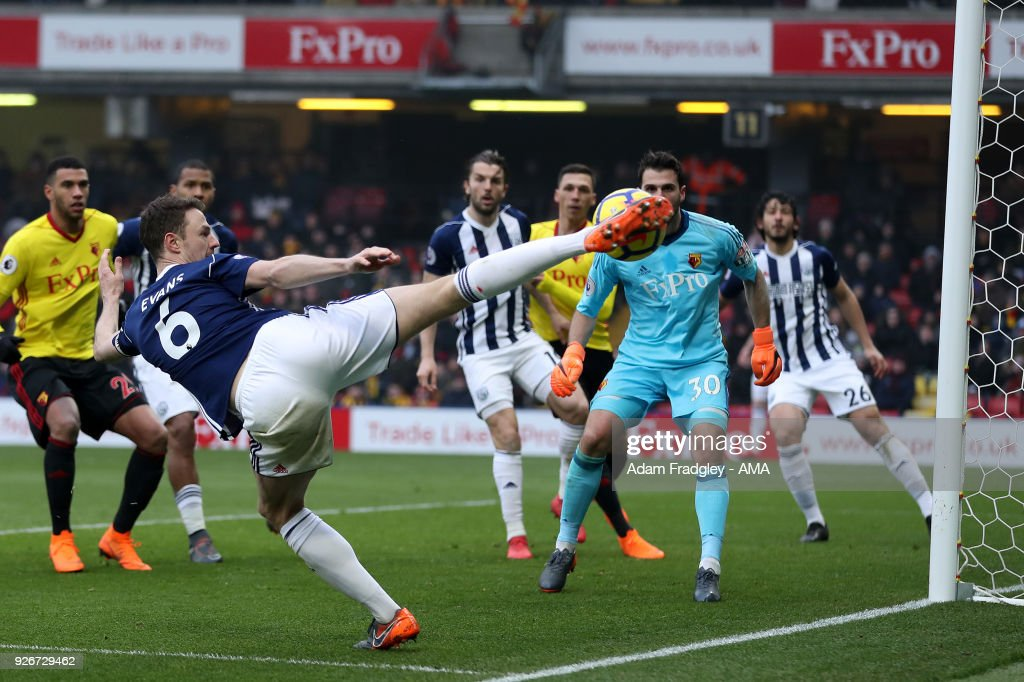 Jonny Evans of West Bromwich Albion sees his shot at goal bounce off the post during the Premier League match between Watford and West Bromwich Albion at Vicarage Road on March 3, 2018 in Watford, England.