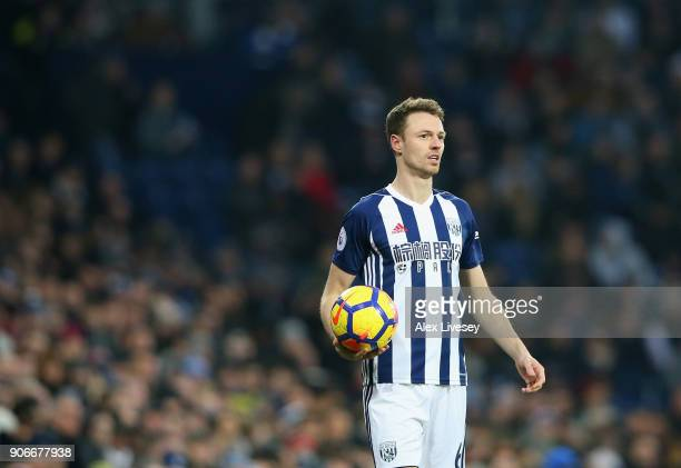 Jonny Evans of West Bromwich Albion takes a throw in during the Premier League match between West Bromwich Albion and Brighton and Hove Albion at The...