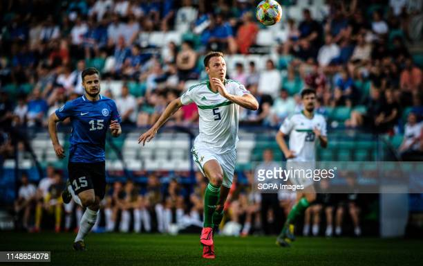 Jonny Evans seen in action during the Euro 2020 qualifiers game between Estonia and Northern Ireland in Tallinn