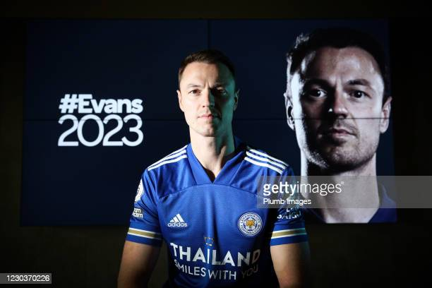 Jonny Evans signs a new contract at Leicester City on December 30, 2020 in Leicester, England.