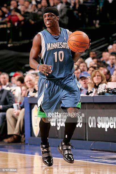 Jonny Flynn of the Minnesota Timberwolves drives the ball up court during the game against the Dallas Mavericks on March 3 2010 at American Airlines...