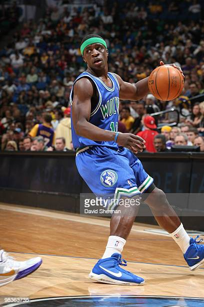 Jonny Flynn of the Minnesota Timberwolves handles the ball against the Los Angeles Lakers during the game on April 9 2010 at the Target Center in...