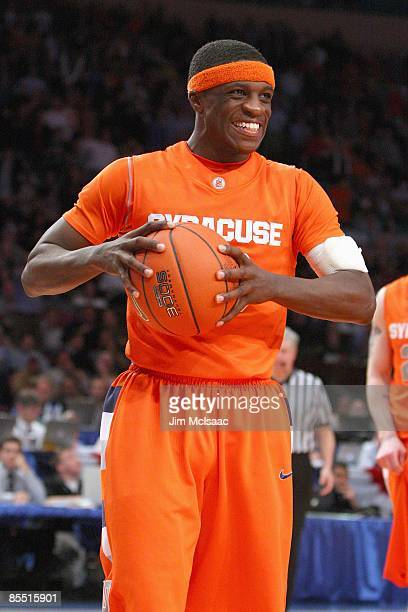 Jonny Flynn of the Syracuse Orange reacts on court against the Connecticut Huskies during the quarterfinals of the Big East Tournament at Madison...