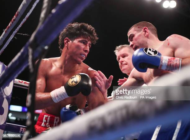 Jonny Garton and Nelson Altamirano during the International Welterweight Contes at The O2 London PRESS ASSOCIATION Photo Picture date Saturday June...