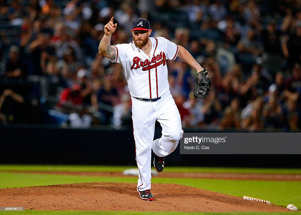 Jonny Gomes #7 of the Atlanta Braves reacts after striking out Bryan Mitchell #55 of the New York Yankees to end the ninth inning at Turner Field on August 28, 2015 in Atlanta, Georgia.