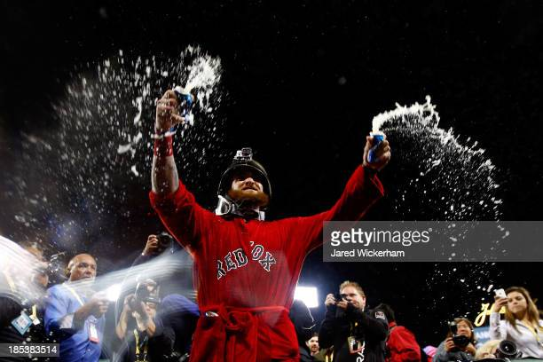 Jonny Gomes of the Boston Red Sox celebrates after defeating the Detroit Tigers in Game Six of the American League Championship Series at Fenway Park...