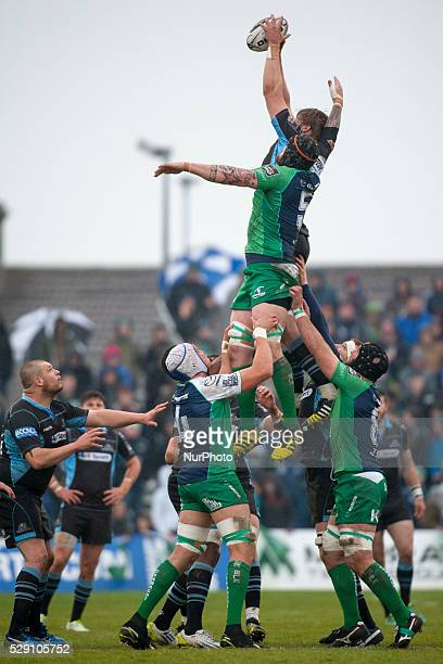 Jonny Gray of Glasgow fight for the ball with Aly Muldowney of Connacht during the Guinness PRO12 rugby match between Connacht Rugby and Glasgow...