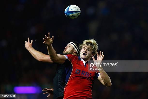 Jonny Gray of Scotland takes the ball in the lineout during the Viagogo Autumn International match between Scotland and New Zealand at Murrayfield...