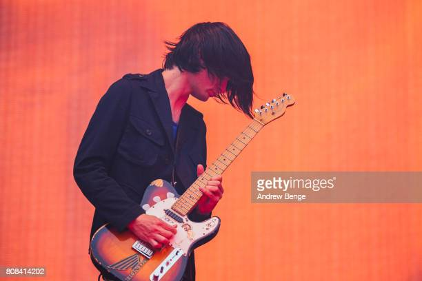 Jonny Greenwood of Radiohead performs at Emirates Old Trafford on July 4 2017 in Manchester England
